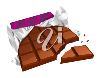 Royalty Free Clipart Image of a Broken Chocolate Bar