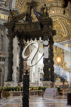 The baldacchino, in the basilica of Saint Peter in Rome