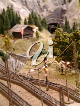 Small railway model in the countryside