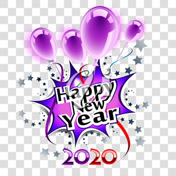 Happy New Year 2020 purple greeting card, transparent eps10