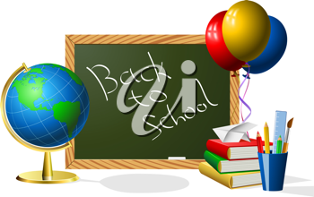 Royalty Free Clipart Image of a Blackboard and Balloons