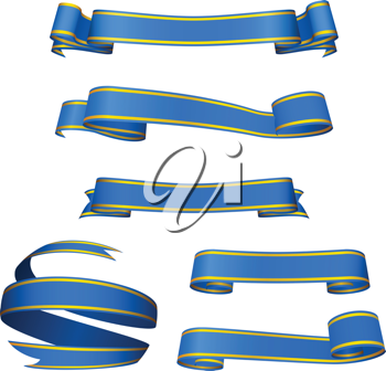 Royalty Free Clipart Image of a Set of Blue Banners