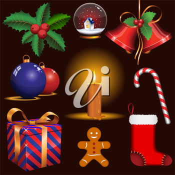 Royalty Free Clipart Image of Christmas Symbols