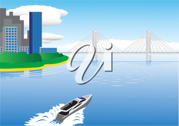 Royalty Free Clipart Image of a Motorboat in the Water