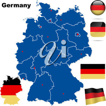 Royalty Free Clipart Image of Flags and Map of Germany