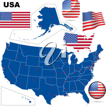 Royalty Free Clipart Image of a Map and Flags of the United States
