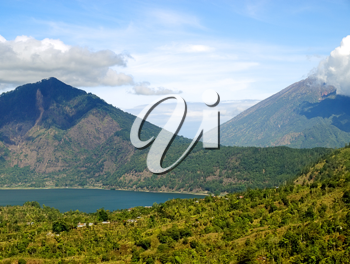 Bali landscape with mountain lake between two volcanos