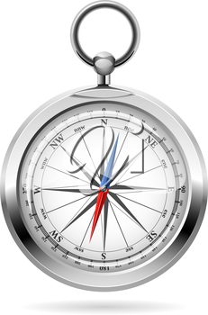 Realistic vector illustration of shiny metal compass.