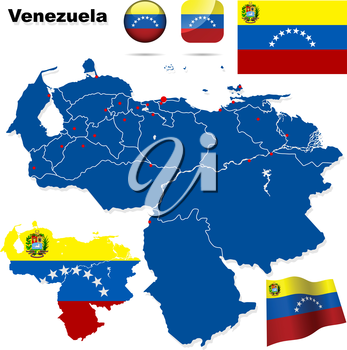 Venezuela vector set. Detailed country shape with region borders, flags and icons isolated on white background.