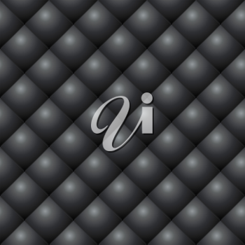 Seamless black diamond stitched leather vector texture.