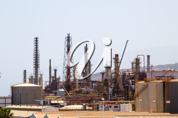 Oil processing plant in industrial zone.