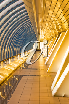 Royalty Free Photo of the Interior of the Bagration Business Bridge in Moscow City
