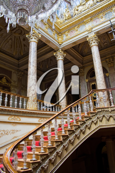 Royalty Free Photo of the Crystal Staircase in Dolmabahce Palace in Istanbul