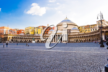 Royalty Free Photo of Piazza Plebiscito Basilica in Naples Italy