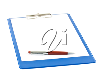 Royalty Free Photo of a Blank Clipboard and a Ballpoint Pen
