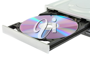 Opening cd-rom drive with disk isolated on white background