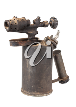 Vintage old blowtorch isolated on white background