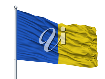 Herve City Flag On Flagpole, Country Belgium, Isolated On White Background, 3D Rendering