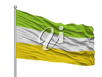 Majagual City Flag On Flagpole, Country Colombia, Sucre Department, Isolated On White Background, 3D Rendering