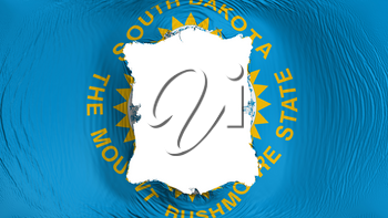 Square hole in the South Dakota state flag, white background, 3d rendering