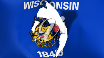 Damaged Wisconsin state flag, white background, 3d rendering