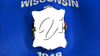Square hole in the Wisconsin state flag, white background, 3d rendering