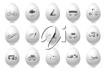 Royalty Free Clipart Image of Icons on Eggs
