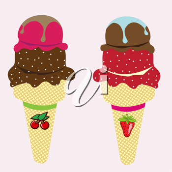 Royalty Free Clipart Image of Ice Cream Cones