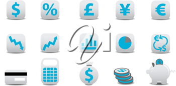 Royalty Free Clipart Image of Financial Icons