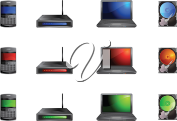 Royalty Free Clipart Image of Technology Icons