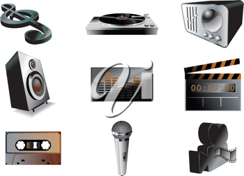 Royalty Free Clipart Image of Music and Audio Icons