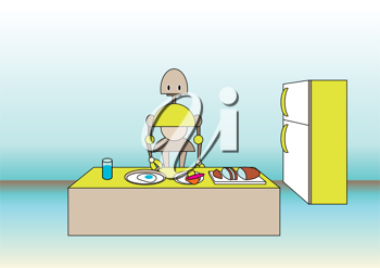 Royalty Free Clipart Image of a Robot in the Kitchen