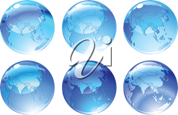 Royalty Free Clipart Image of Blue Globes