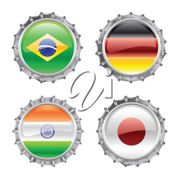 Royalty Free Clipart Image of Flag Bottlecaps