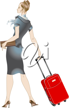 Royalty Free Clipart Image of a Stewardess