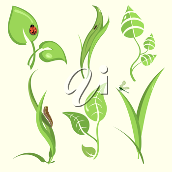 Royalty Free Clipart Image of Insects on Plants