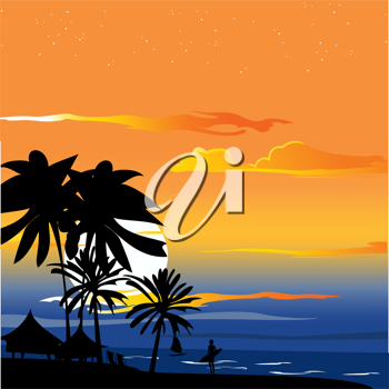 Royalty Free Clipart Image of a Sunset by the Ocean