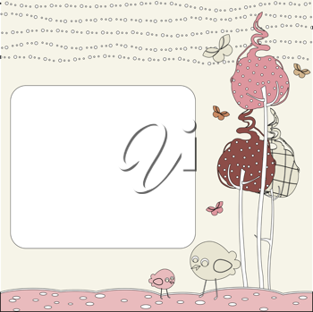 Royalty Free Clipart Image of a Nature Greeting Card Design