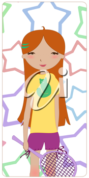 Royalty Free Clipart Image of a Girl Playing Badminton