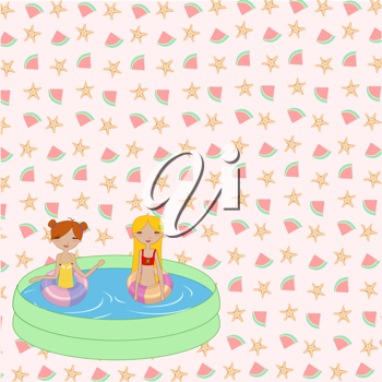 Royalty Free Clipart Image of Two Girls in a Swimming Pool