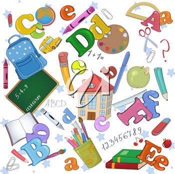 Royalty Free Clipart Image of a Bunch of School Icons