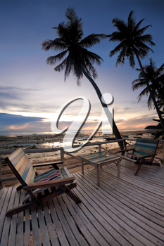 Royalty Free Photo of an Outdoor Cafe on a Beach