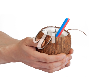 Royalty Free Photo of a Man Holding a Coconut