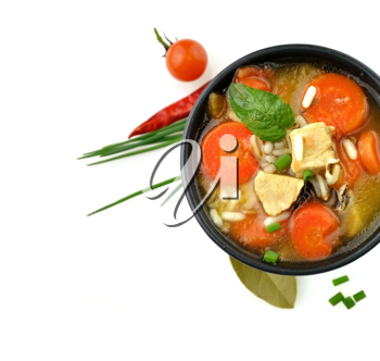 Royalty Free Photo of Chicken and Wild Rice Soup With Vegetables