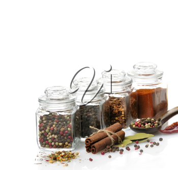Royalty Free Photo of Spices Assortment in Glass Jars