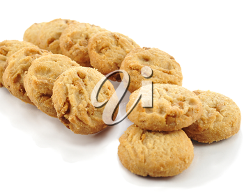 caramel cookies on white background