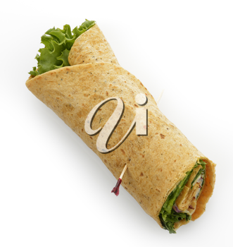 Turkey Wrap Sandwich With Bacon And Lettuce