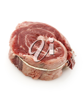 Piece Of Red Raw Meat Steak  On White Background