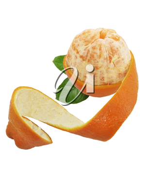 Partially Peeled Off Orange Isolated On White Background