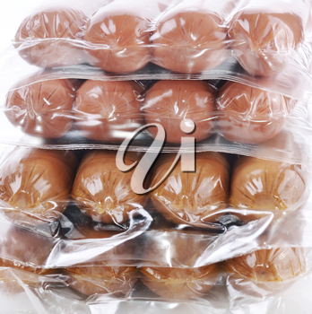 Stack Of Sausages In A Plastic Package
